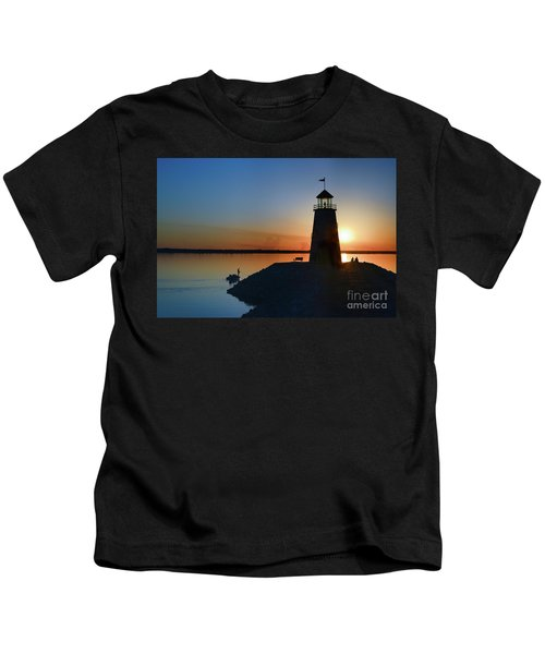 Fishing At The Lighthouse Kids T-Shirt