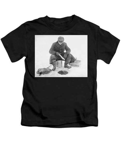 Fishing Through Ice Kids T-Shirt