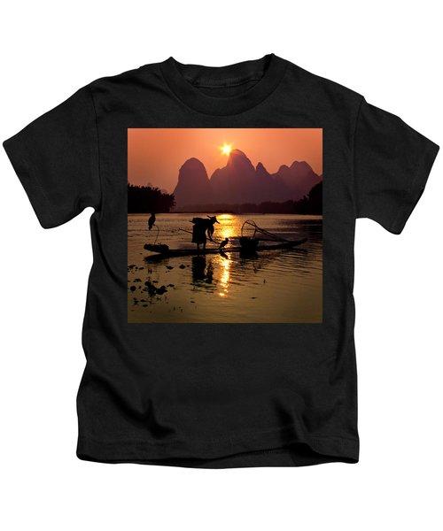Fishing With Cormorants Kids T-Shirt