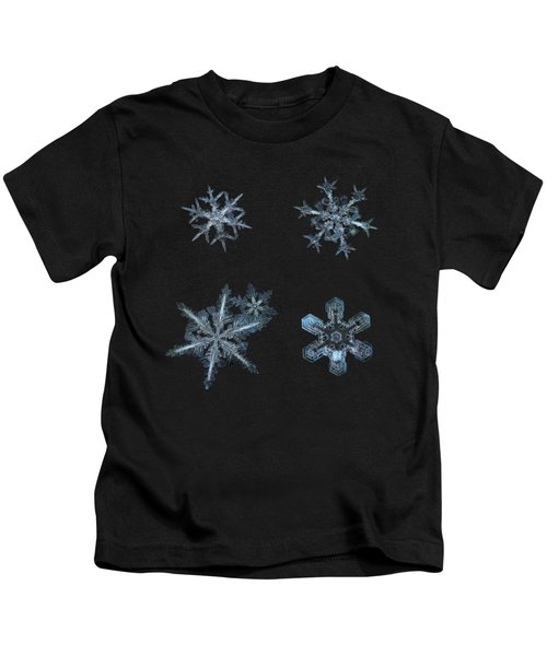 Five Snowflakes On Black 3 Kids T-Shirt