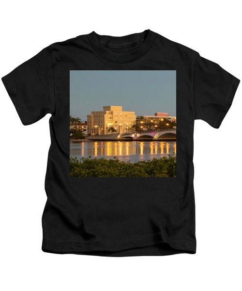 Flagler Bridge In Lights Kids T-Shirt
