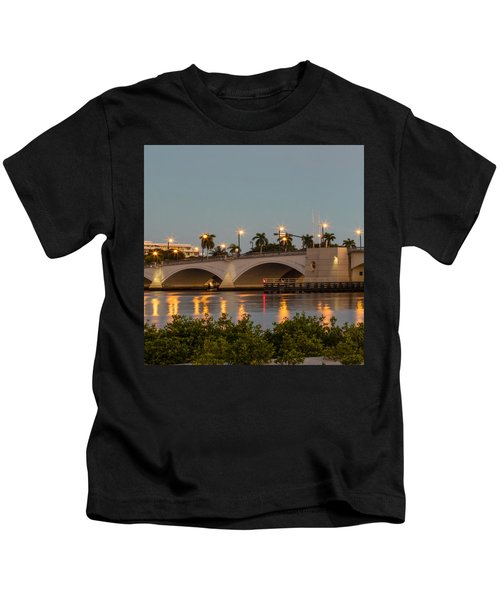 Flagler Bridge In Lights II Kids T-Shirt