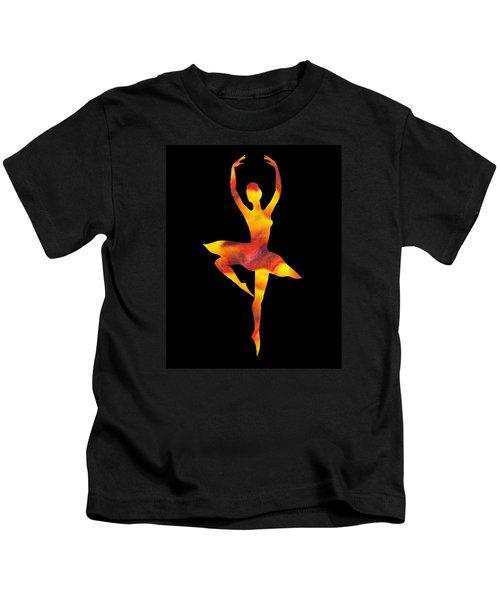 Flamboyant Dance Ballerina Silhouette Kids T-Shirt
