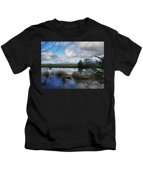 Flooding River, Field And Clouds Kids T-Shirt