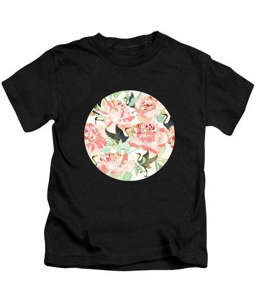 Floral Cranes Kids T-Shirt