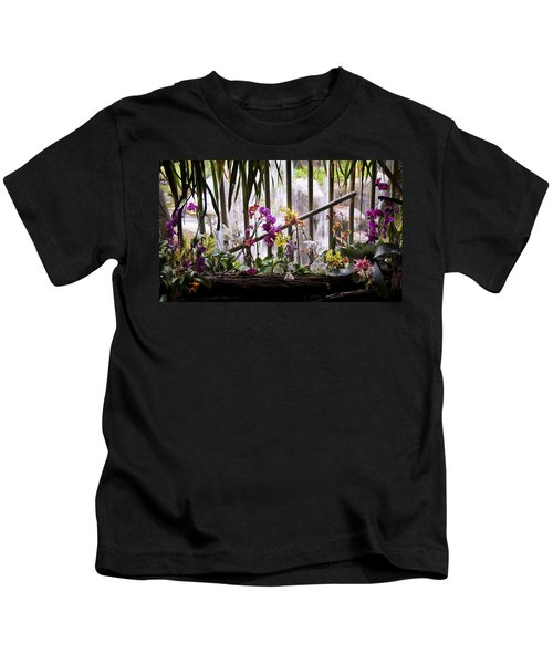 Flowers And Waterfall Kids T-Shirt