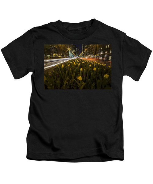 Flowers At Night On Chicago's Mag Mile Kids T-Shirt