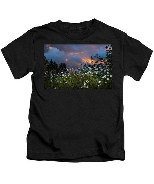 Flowers At Sunset Kids T-Shirt