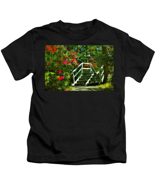 Flowers Bloom Alongside Magnolia Plantation Bridge - Charleston Sc Kids T-Shirt