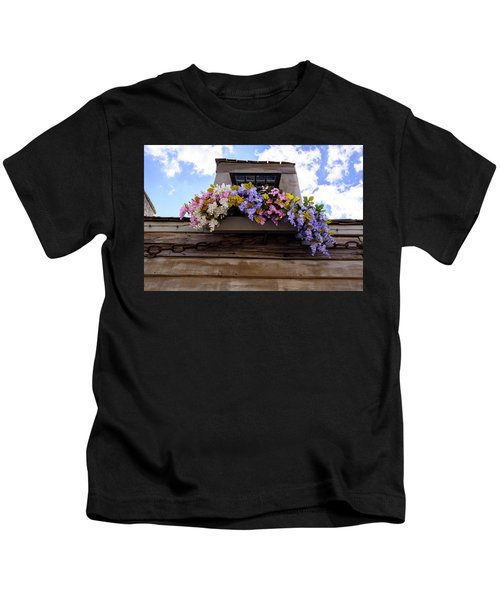 Flowers On A Rooftop Balcony In Saint Augustine Florida Kids T-Shirt