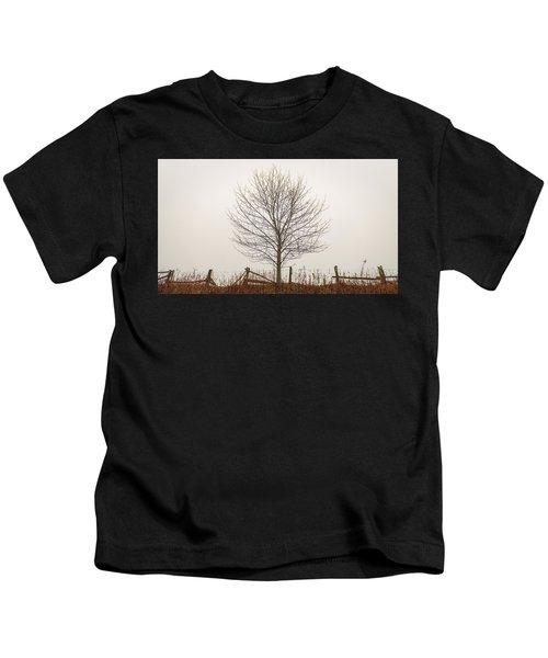 Foggy Lone Tree Hill Kids T-Shirt