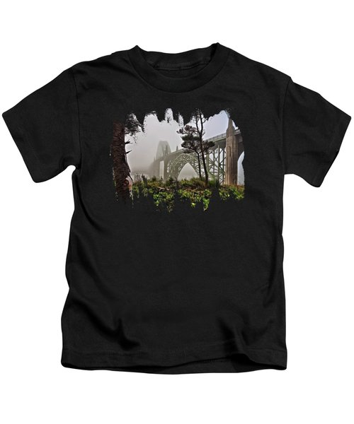 A Foggy Morning On Yaquina Bay Kids T-Shirt