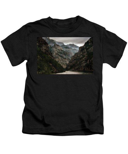 Foggy Mountains Over Neretva Gorge Kids T-Shirt