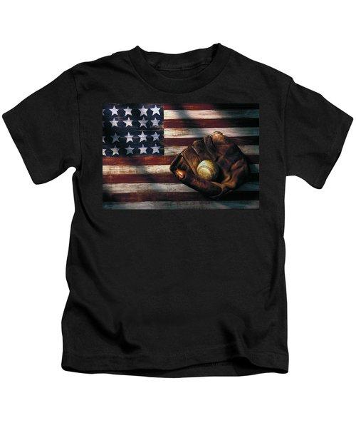Folk Art American Flag And Baseball Mitt Kids T-Shirt