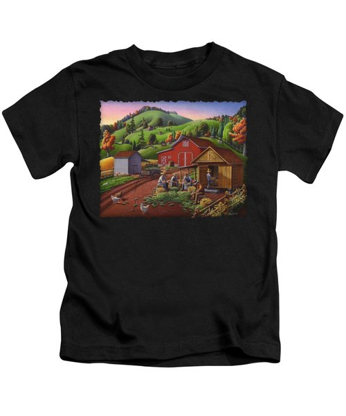 Folk Art Americana - Farmers Shucking Harvesting Corn Farm Landscape - Autumn Rural Country Harvest  Kids T-Shirt
