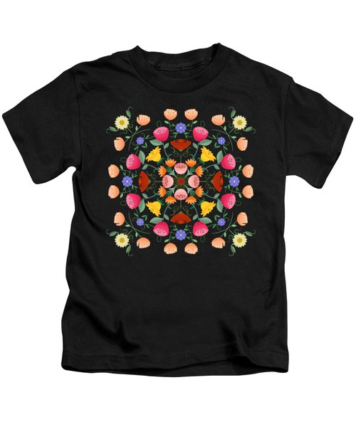 Folk Art Inspired Garden Of Fantastic Floral Delight Kids T-Shirt