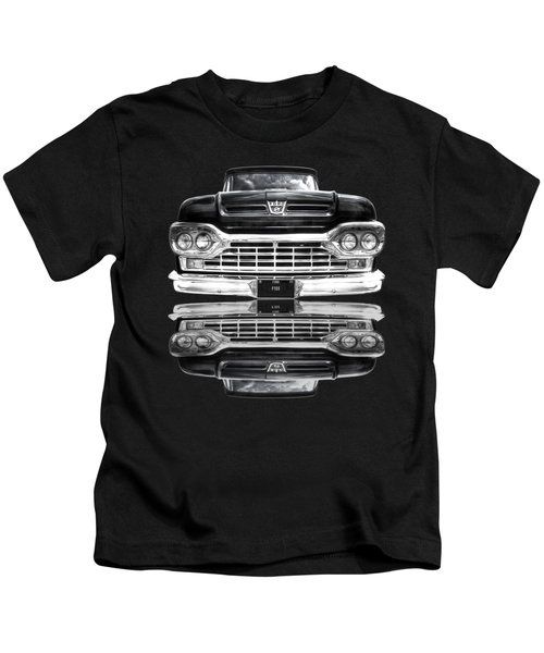Ford F100 Truck Reflection On Black Kids T-Shirt