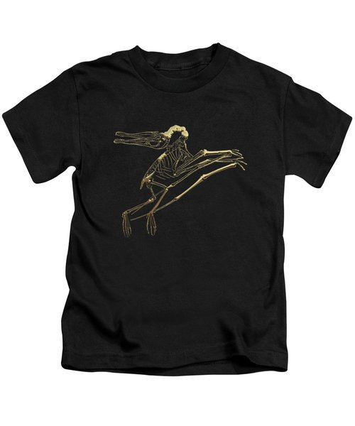 Fossil Record - Gold Pterodactyl Fossil On Black Canvas #2 Kids T-Shirt