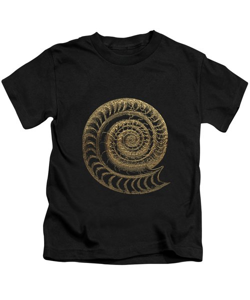 Fossil Record - Golden Ammonite Fossil On Square Black Canvas # Kids T-Shirt
