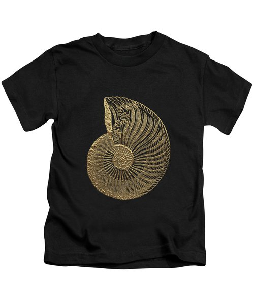 Fossil Record - Golden Ammonite Fossil On Square Black Canvas #1 Kids T-Shirt