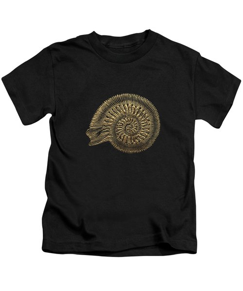 Fossil Record - Golden Ammonite Fossil On Square Black Canvas #2 Kids T-Shirt