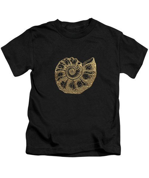 Fossil Record - Golden Ammonite Fossil On Square Black Canvas #4 Kids T-Shirt