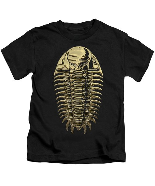 Fossil Record - Golden Trilobite On Black No. 3 Kids T-Shirt