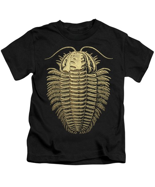 Fossil Record - Golden Trilobite On Black No.1 Kids T-Shirt