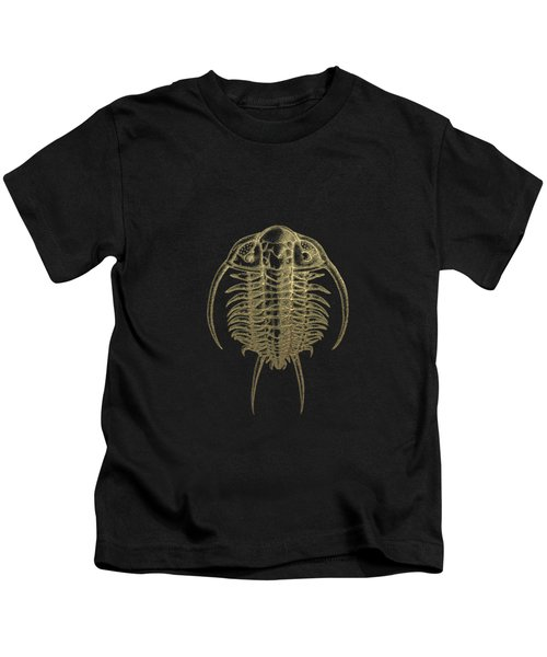 Fossil Record - Golden Trilobite On Black No.2 Kids T-Shirt