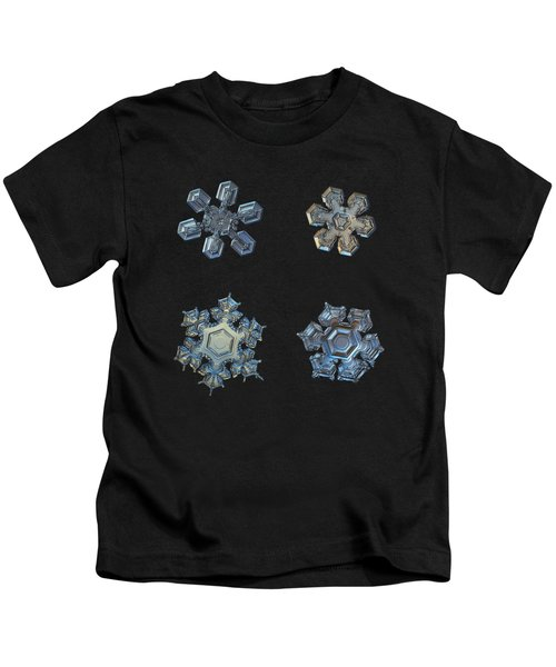 Four Snowflakes On Black 2 Kids T-Shirt
