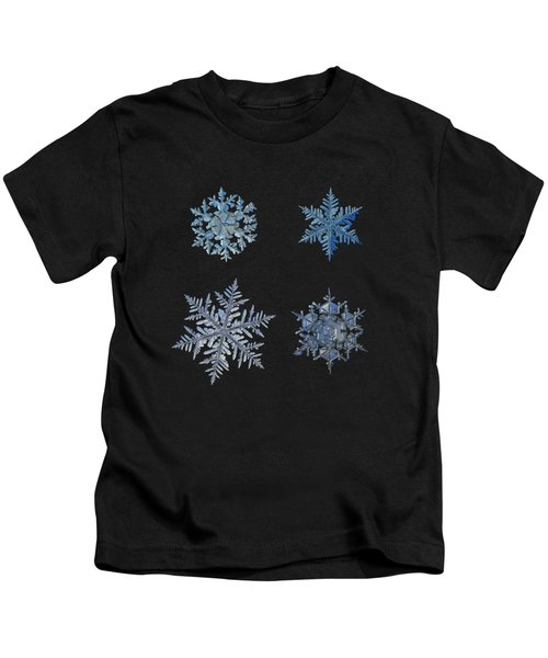 Four Snowflakes On Black Background Kids T-Shirt