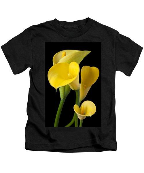 Four Yellow Calla Lilies Kids T-Shirt