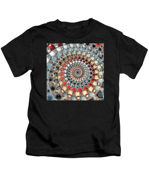 Fractal Spiral Red Grey Light Blue Square Format Kids T-Shirt