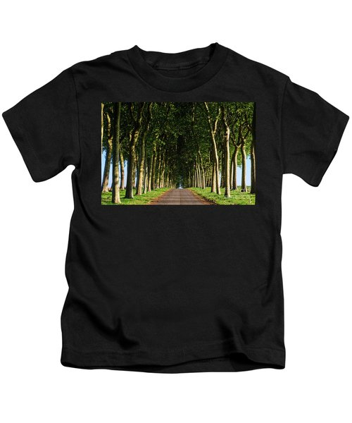 French Tree Lined Country Lane Kids T-Shirt