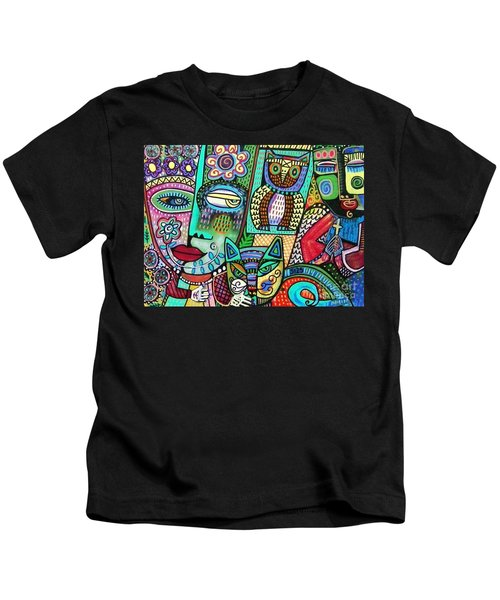 -frida's Garden Owl And Cat Kids T-Shirt
