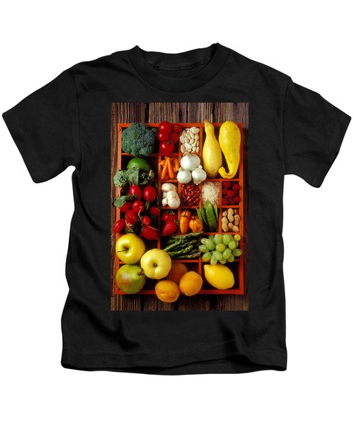 Fruits And Vegetables In Compartments Kids T-Shirt by Garry Gay