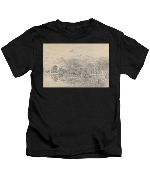 Fulham Church From Across The River Kids T-Shirt