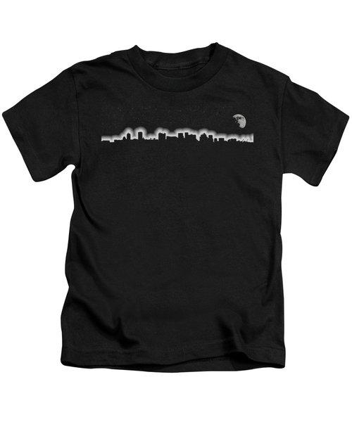 Full Moon Over Boston Skyline Black And White Kids T-Shirt