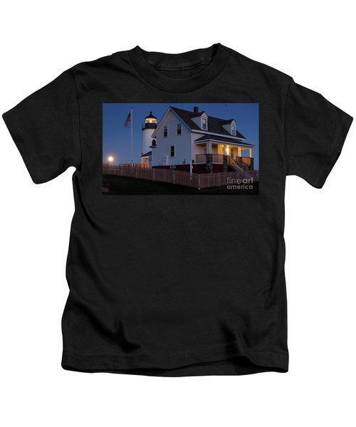Full Moon Rise At Pemaquid Light, Bristol, Maine -150858 Kids T-Shirt