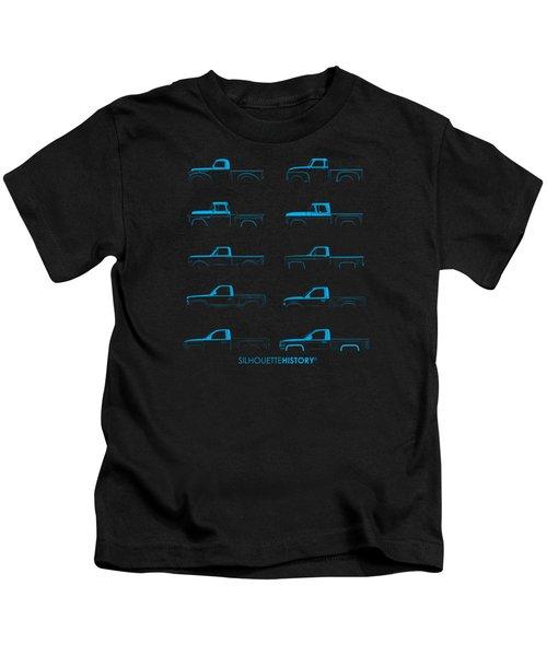 Fullsize Pickup Silhouettehistory Kids T-Shirt by Balazs Iker