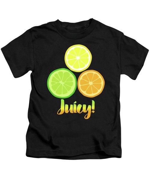 Fun Juicy Orange Lime Lemon Citrus Art Kids T-Shirt by Tina Lavoie