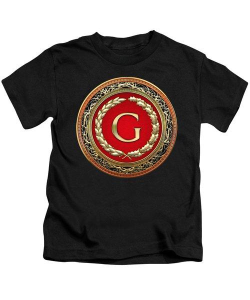 G -- Gold Vintage Monogram On Brown Leather Kids T-Shirt