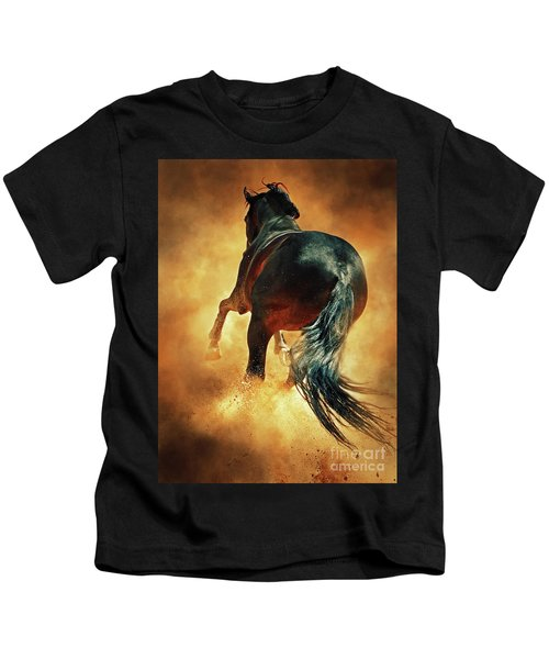 Galloping Horse In Fire Dust Kids T-Shirt