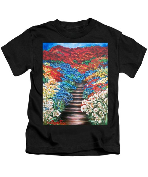 Red White And Blue Garden Cascade.               Flying Lamb Productions  Kids T-Shirt