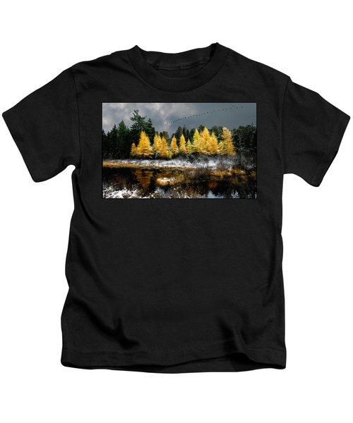 Geese Over Tamarack Kids T-Shirt