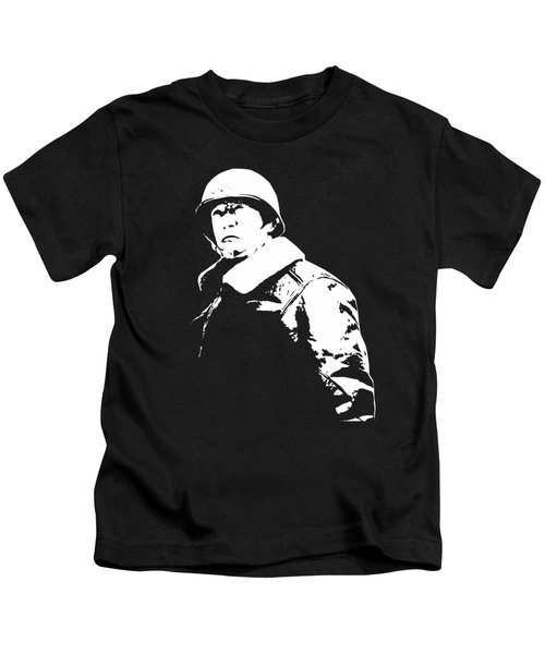General George Patton - Black And White Kids T-Shirt