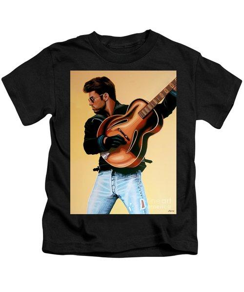George Michael Painting Kids T-Shirt by Paul Meijering