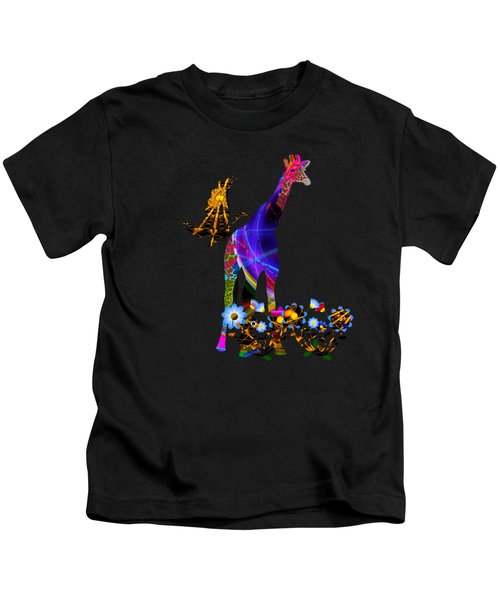 Giraffe And Flowers Kids T-Shirt