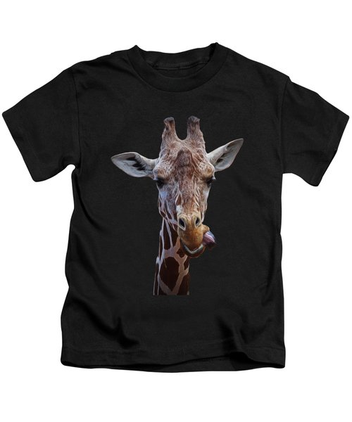 Giraffe Face Kids T-Shirt by Ernie Echols