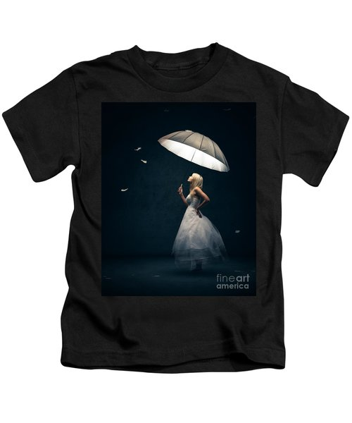 Girl With Umbrella And Falling Feathers Kids T-Shirt